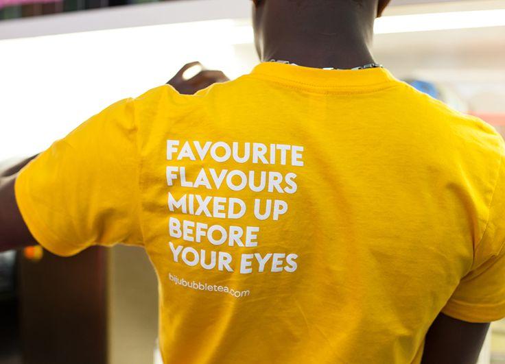 Uniform design by ico for British bubble tea brand Biju
