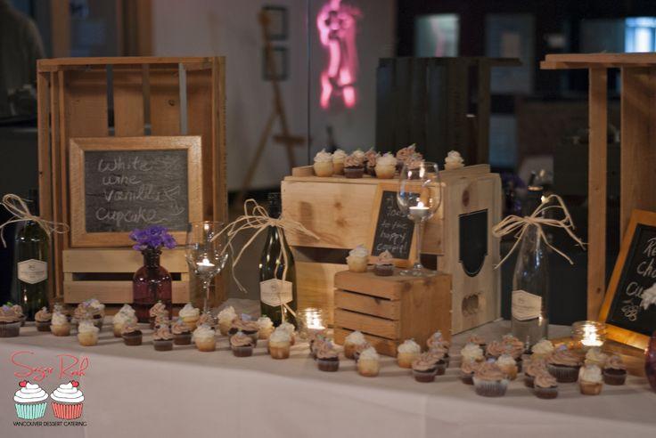 Rustic Wine Cupcake Display