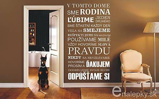 Nálepky na stenu - Pravidlá rodiny - Slovensky
