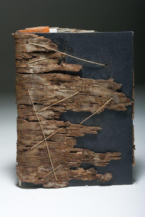 Artist: Stephanie Frederick. Dry bark used as book enclosure.