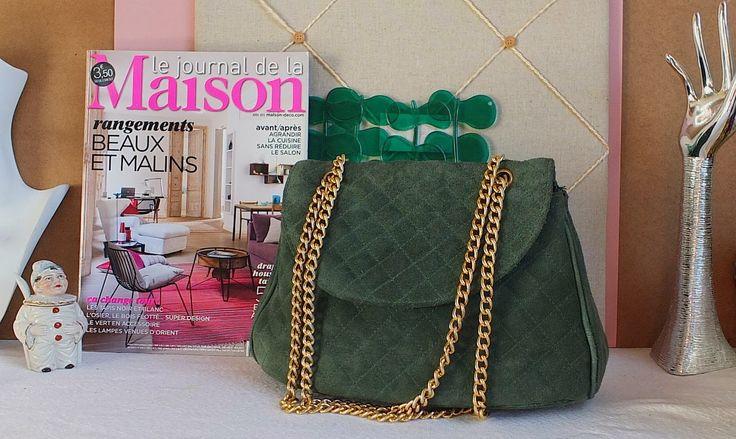 Superbe sac vintage très chic en croute de cuir vert & chaîne dorée - 60€