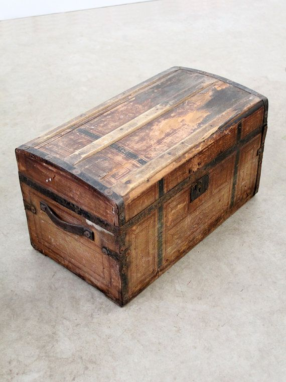 SALE Antique Trunk / Wood and Metal Trunk by 86home on Etsy, $212.50