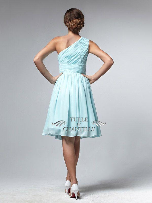 Ashlee-Pretty Royal Blue Tea Length One-shoulder Cocktail Bridesmaid Dress 4