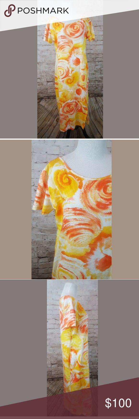 ESCADA SPORT maxi size Large Escada Sport Shirt dress Large 100% cotton Side slit on left Orange and yellow swirl Flat bust 38 length 45 Escada Dresses Maxi