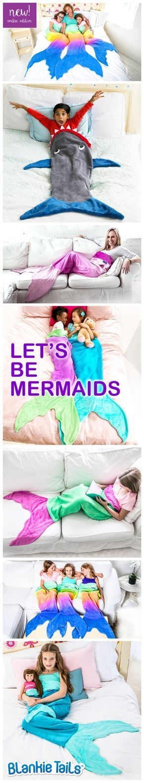 Climb inside the colorful-coziness of our NEW Limited Edition Ombre Blankie Tails®! Feel like Ariel from the little mermaid in our MERMAZING Ombre Blankie Tails® or Be JAWESOME in our signature Shark Blanket! Made from premium grade, super soft, double sided minky fleece with minky dot embellishments around the top, and a gorgeously sewn tail, which you can slide your feet into, Blankie Tails® are perfect for cozy fun at home or on the go!  #thesnuggleisreal