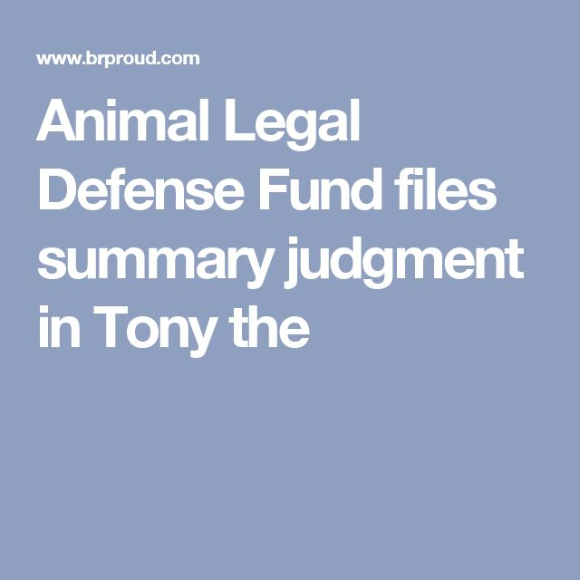 Animal Legal Defense Fund files summary judgment in Tony the