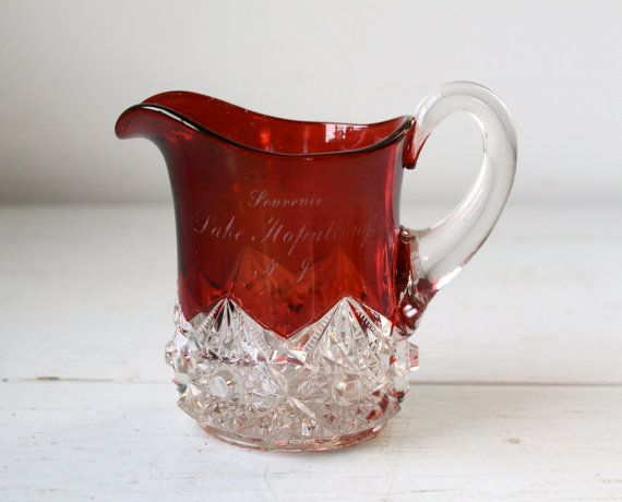 antique ruby glass pitcher / ruby red flash and cut crystal clear souvenir creamer / Victorian 1890s