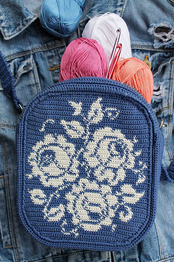 Roses Crossbody Tapestry Crochet Bag Nordic Crochet Urban