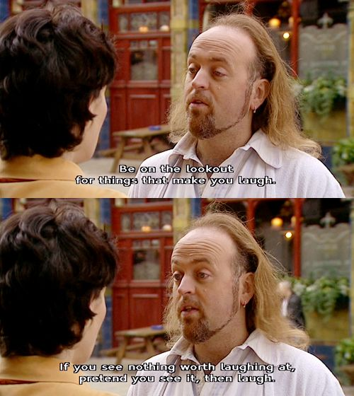 Black Books, Manny swallows the Little Book Of Calm...
