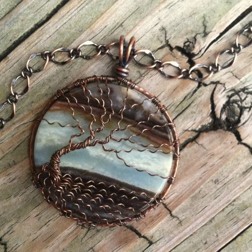 Extra Large Landscape Amazonite Copper Wire Wrapped Tree Of Life | DesignsinCopper - Jewelry on ArtFire