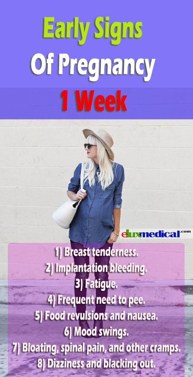 Early Signs Of Pregnancy 1 Week  Most of the women check