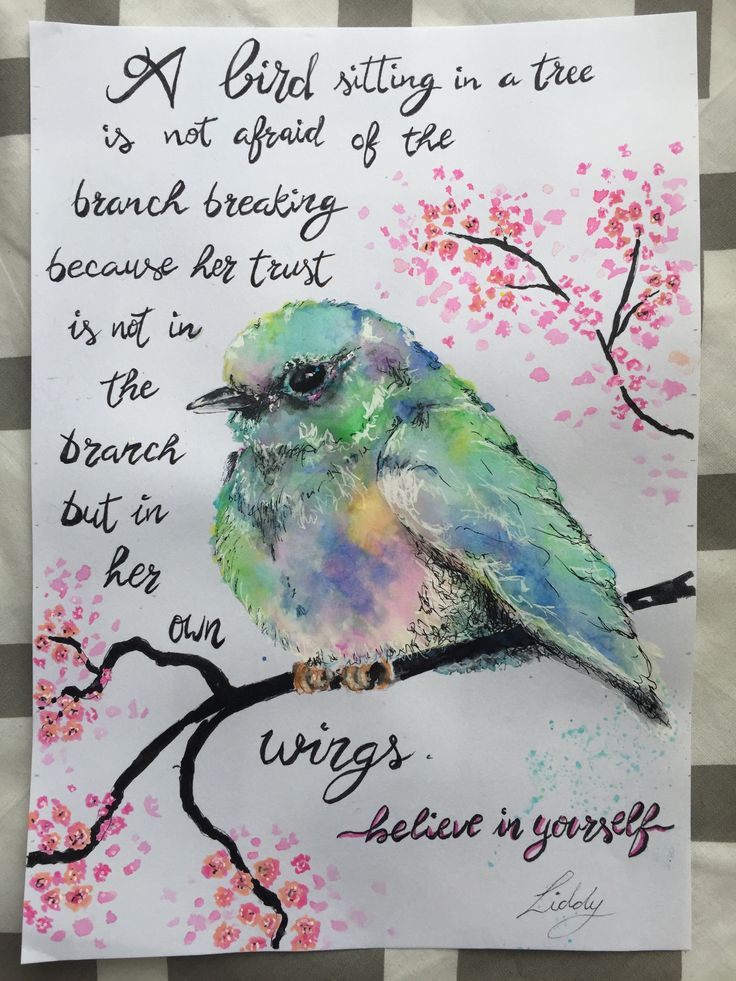 Bird watercolour and pen painting Believe in yourself, inspirational quote