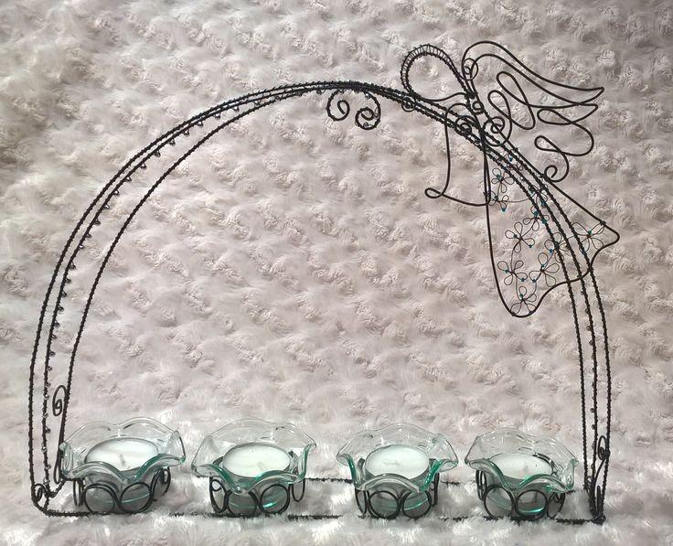 Nativity wired candlestick with angel Adventní drátovány svícen s andělem