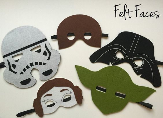 One set of 5 Star Wars party masks, one of each style shown in the photo. Each mask is made with premium felt, and has a black elastic band sewn to each side of the back. These adorable party masks ar