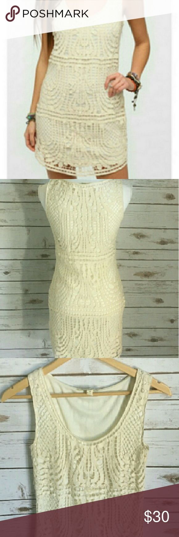 """Staring at Stars (Urban Outfitters) Crochet Dress Like new condition! Never worn! Cream in color. Cute for everyday wear or perfect for a festival. 14"""" waist, 16"""" bust and 33"""" length. Bundle to save big! Urban Outfitters Dresses Mini"""