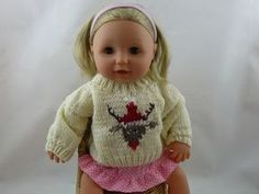 """Reindeer Jumper for 16"""" Doll 