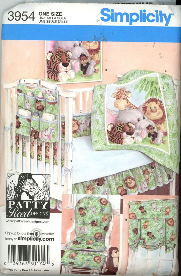 Simplicity 3954 Nursery Accessories including quilt, wall hanging, bumper pads, sheet, dust ruffle, crib caddy, shade, cushions Pattern is factory folded, uncut and complete with instructions Thank you for looking and Happy Shopping!!!!! If you have a problem with any pattern please contact me right away so we can come up with a resolution. I want my customers happy. I would love to see your work after you complete the pattern. Send me pictures! I will combine shipping or mail…