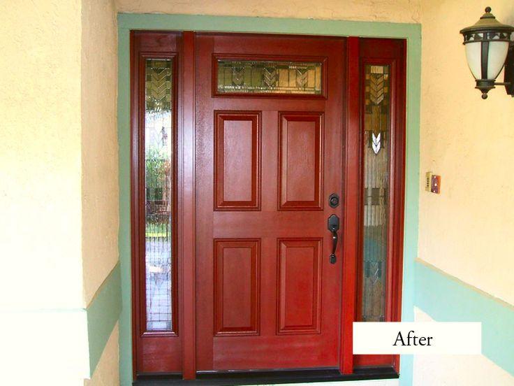 Classic Plastpro Fiberglass Entry Door And Sidelights Model DRM60 Spring Glass Installed In La