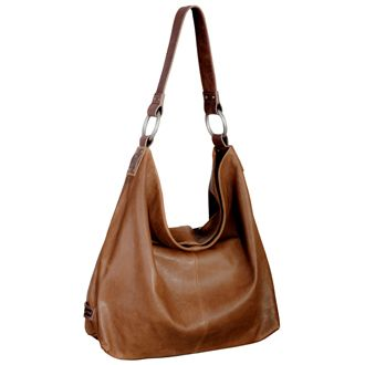 """Ellington Sadie Hobo: Glazed Cognac  We carry this purse also in black, grey, and green.  Dimensions: H 14"""" / W 18"""" / D 4"""" / Strap 10"""" drop length  Glazed Italian Lamb Leather  $215.00"""