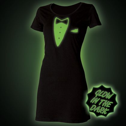 Glow in the dark Tuxedo T-Shirt Dress from Block Clothing http://www.glow.clothing/Product.php?Sku=20249