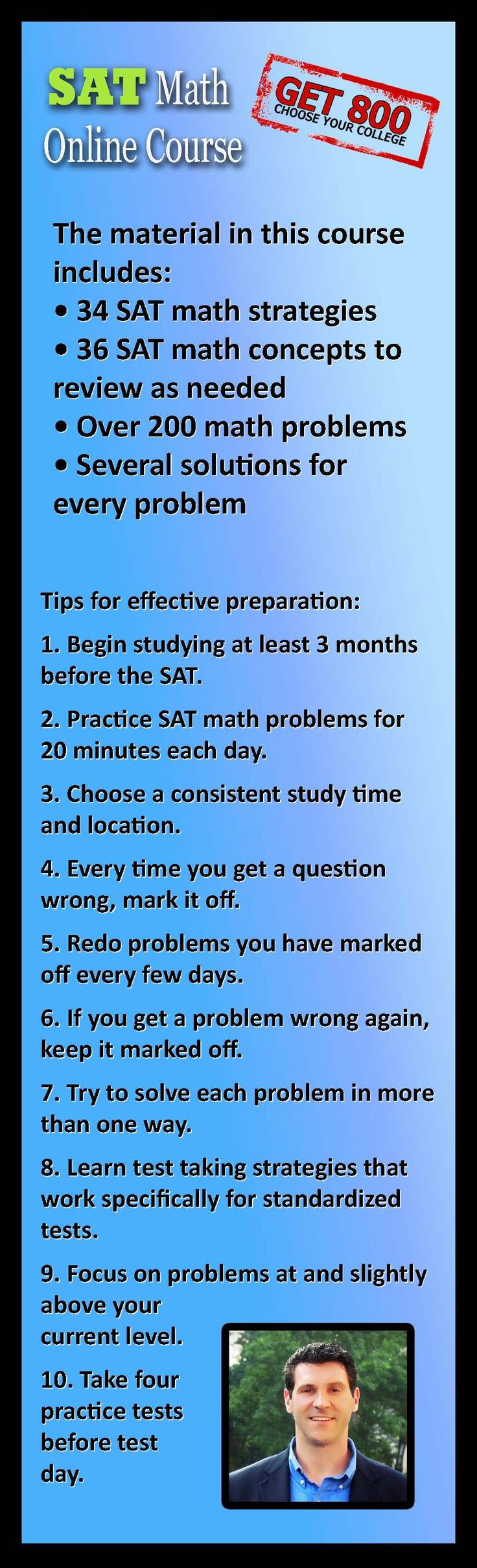 The Get 800 SAT Math Prep Online Course. Created by Dr. Steve Warner: http://satprepget800.com/sat-math-course/