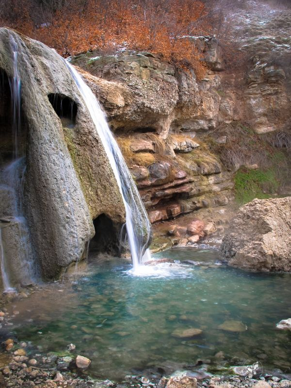 Waterfall at Utah's Diamond Fork Hot Springs