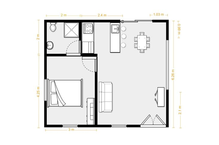 1 bedroom flat layout  ~ Great pin! For Oahu architectural design visit http://ownerbuiltdesign.com