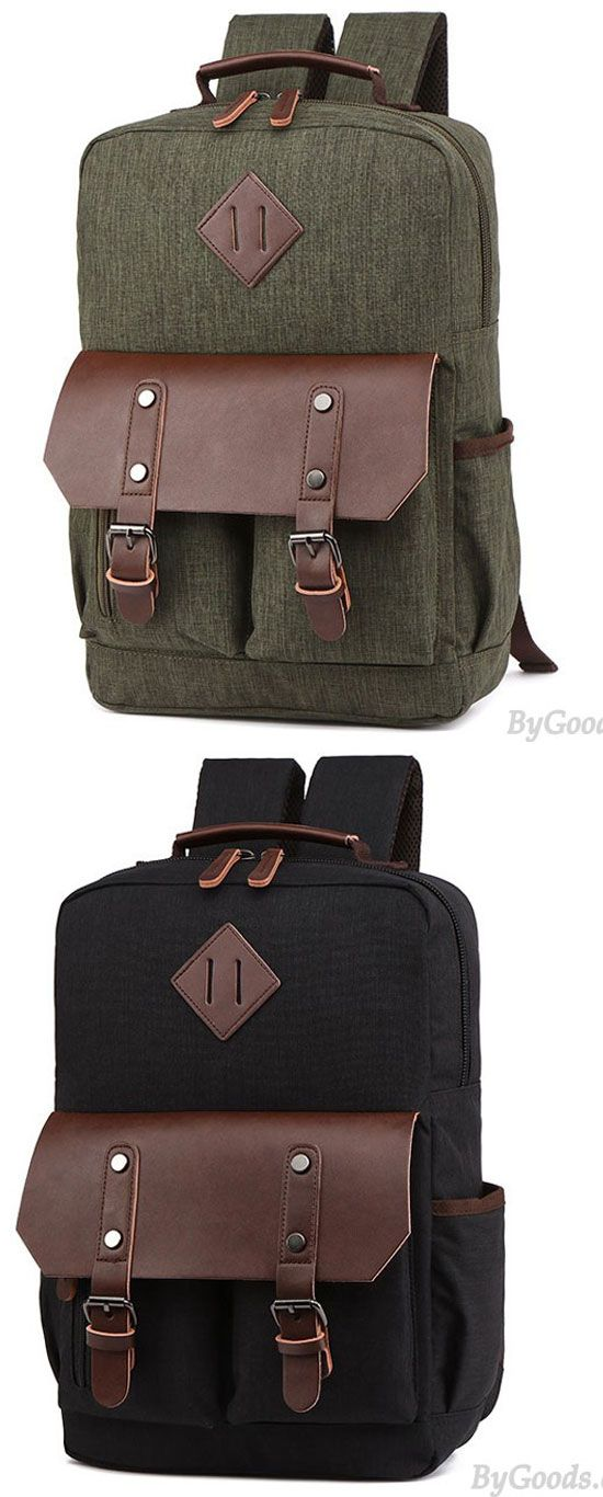Leather Flap Large School Laptop Bag Splicing PU Two Pockets Waterproof Travel  Canvas Backpack  backpack  Bag  rucksack  canvas  travel  student  college    ... ab8a0537ab