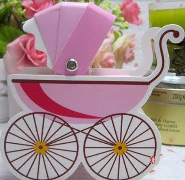 100шт выбрать один цвет розовый / синий / желтый детская коляска бумага конфеты коробка подарка дня рождения партия шоколада упаковка коробки благосклонности коробки