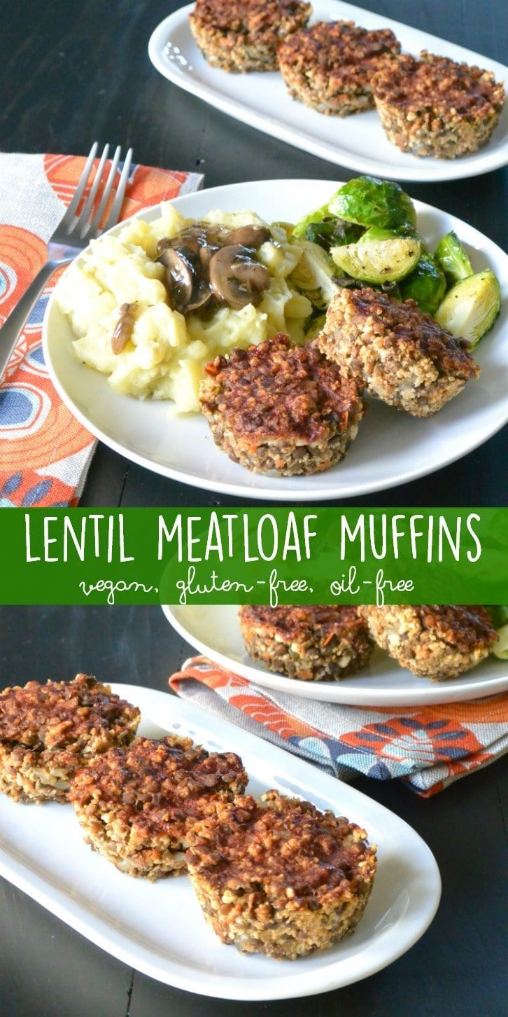 Lentil Meatloaf Muffins (Vegan & Gluten-Free) are easy to make with minimal ingredients. They are comforting while being oil-free and perfect for holidays and family dinners. #vegan #glutenfree #oilfree #meatloaf #lentil  via @VeggiesSave