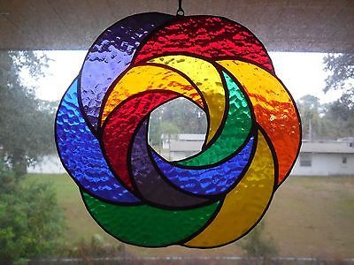 Handmade Rainbow Geometric Abstract Stained Glass Suncatcher Art