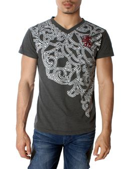 Burning Tattoo Design Grey V-Neck Short Sleeve Tee Shirt