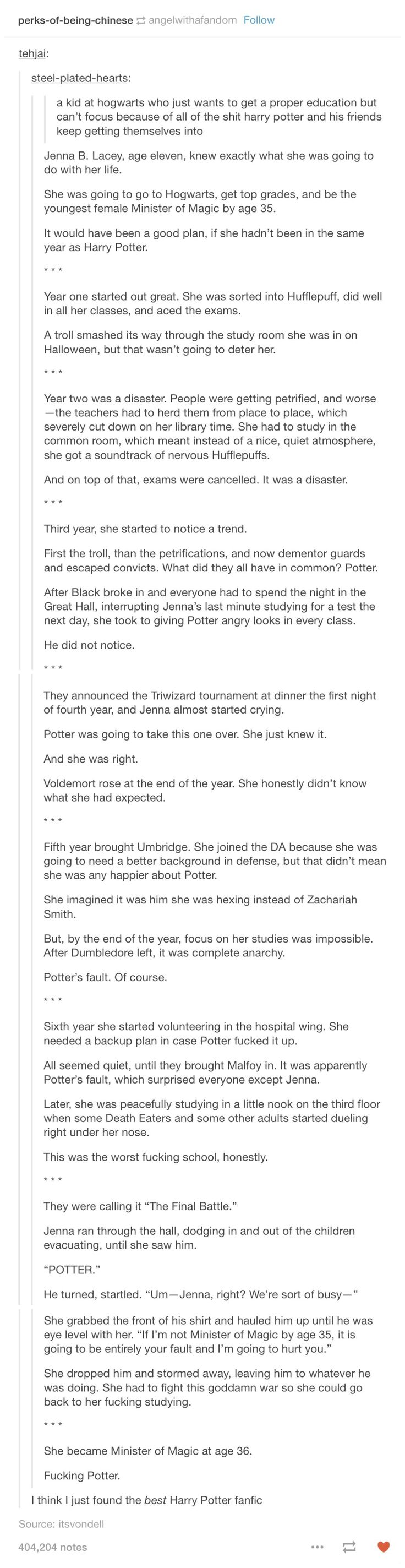 This is actually fucking great if not for the one thing out of Cursed Child that I accept as canon - that Hermione became Minister for Magic (although maybe this still tracks...idk who wants to do math anyway?)