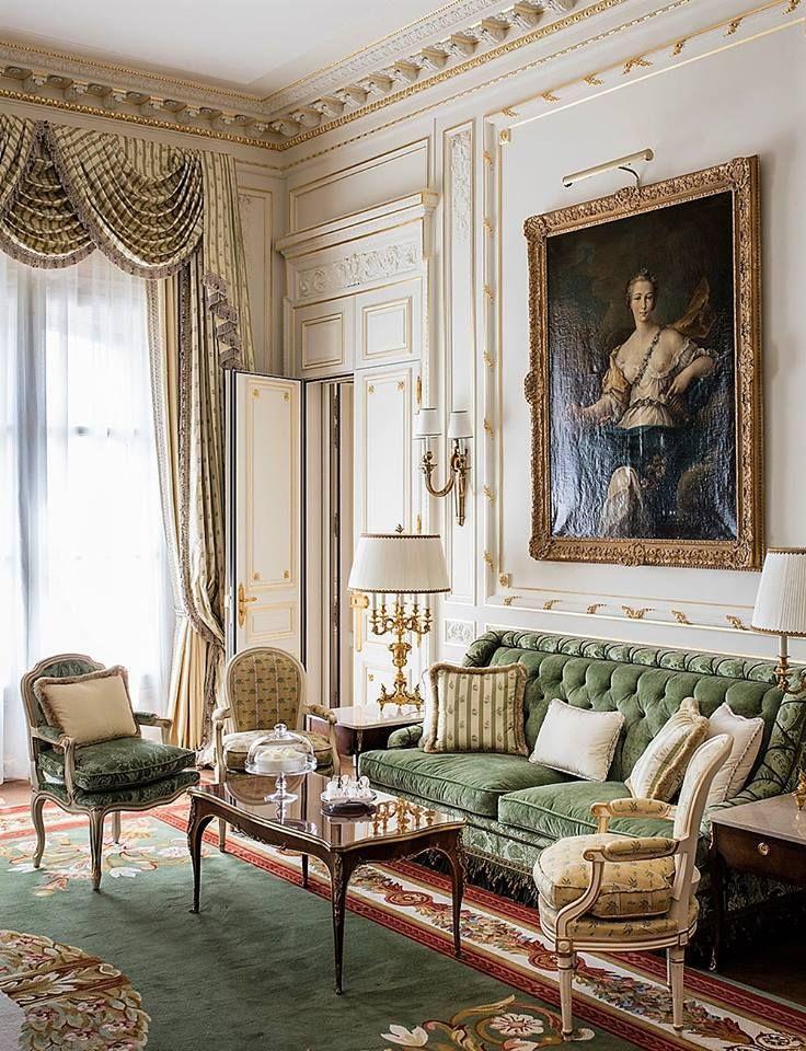 Sitting Area In Green Ritz Paris