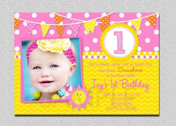 Sunshine Birthday Invitation Sunshine by TheTrendyButterfly, $15.00