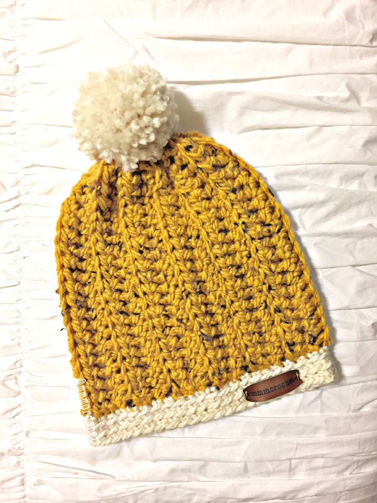 day six.. beanie with pom in mustard + cream! details on etsy, shop link in bio!