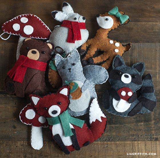 Make these cute felties for a gift topper or holiday ornament. Pattern and tutorial #onmyblog #gifttopper #ornament #woodland