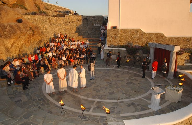 Award Ceremony with Greek Theme, at stone-built Amphitheater of Mykonos Grand Luxury Hotel