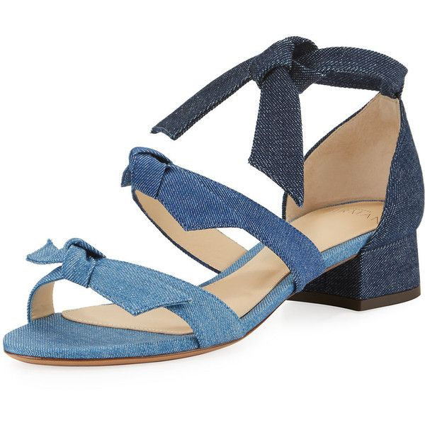 Alexandre Birman Mary Knotted Denim Sandal ($525) ❤ liked on Polyvore featuring shoes, sandals, blue, shoes sandals, strappy block heel sandals, block heel shoes, multi color sandals, strappy sandals and colorful shoes