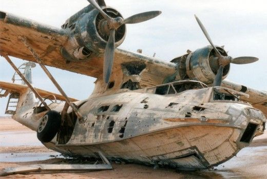 Abandoned Sea Plane. The aircraft is a Catalina PBY-5A model and was bought from the US Navy by Thomas W Kendall, a retired businessman who converted it to a luxury flying yacht.