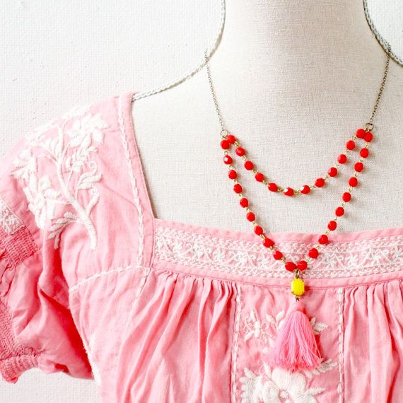 Red Bead Strand and Tassel Necklace Pink by NestPrettyThingsShop, $42.00