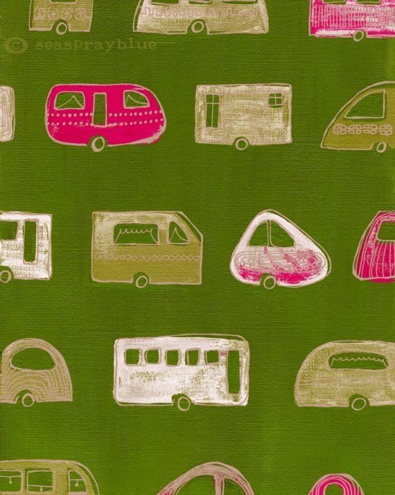 great color and shapes: Campers Adventure, Campers Camps, Colors Pink, Campers Fabrics, Pink Green, Cabinstudiovintag Caravan, Campers Patterns, Colors Caravan, Water Colors