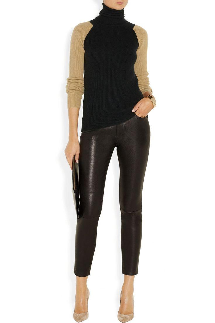 Victoria Beckham   Two-tone ribbed cashmere turtleneck sweater   NET-A-PORTER.COM