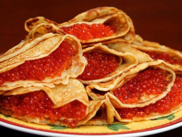Russian style! Crapes with red salmon caviar