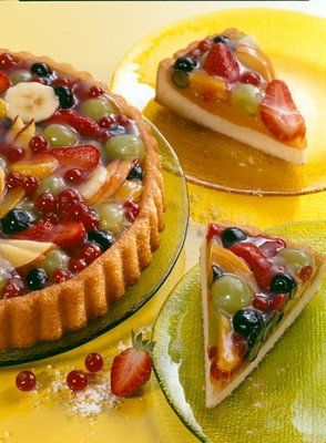 Obsttorte (in German)Grease & flour flan pan. For batter: 125 g soft margarine or butter 100 g sugar 1 pack Dr. Oetker vanilla sugar 1 Pr salt 2 eggs (size M) 175 g wheat flour 1 level tsp Dr. Oetker Original Backin 1 tablespoon milk Using mixer, cream butter; gradually add sugars & salt. Add eggs 1 by 1, mixing on high 1/2 min. before adding next egg. Combine dry ingredients & alternately add with milk on medium speed. Smooth mixture in pan, bake 20-30 minutes at 350 °F.
