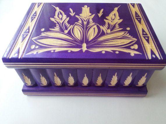 Nuevo grande púrpura especial gran puzzle caja tesoro secreto aventura misterio caja mágica joyería almacenamiento madera tallada a mano hermoso caso caja de regalo