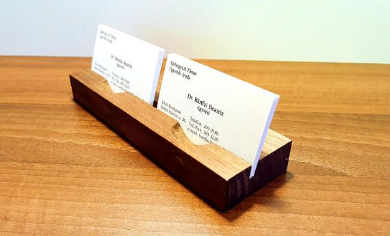 Double business card holder.Wood Business Card Holder.