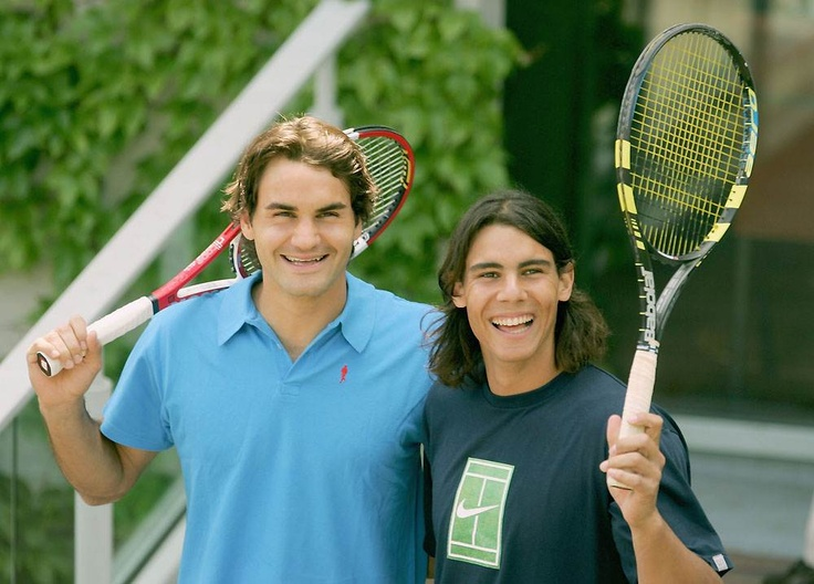 Roger Federer and Rafael Nadal (French Open, 2005) - look how young they are!!!!