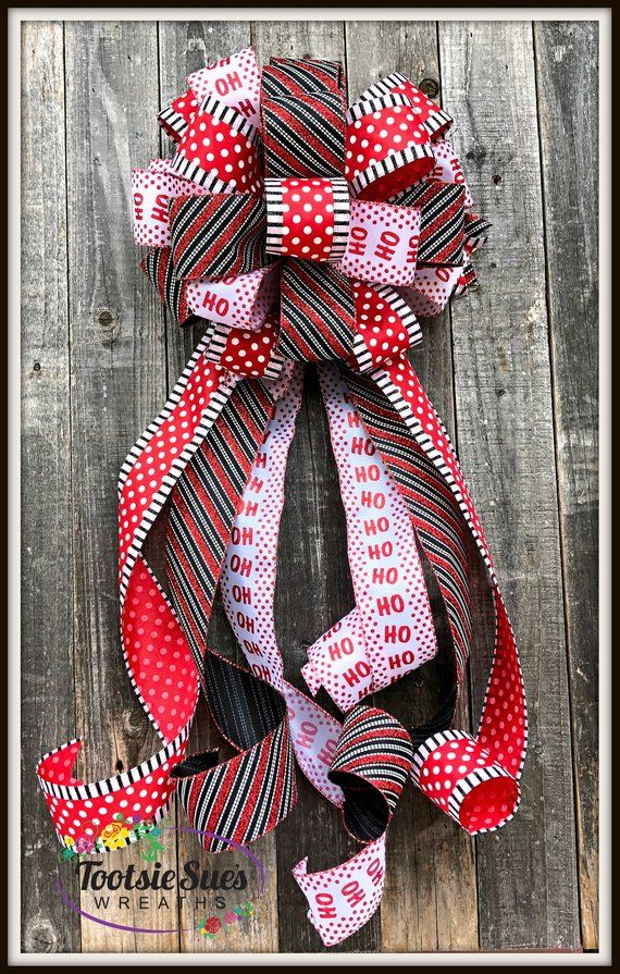 Package Gift Bow Wreath Bow Stair Rail Bow Christmas Wreath Bow Red White Black Dots Ho Ho Ho Christmas Tree Topper Bow