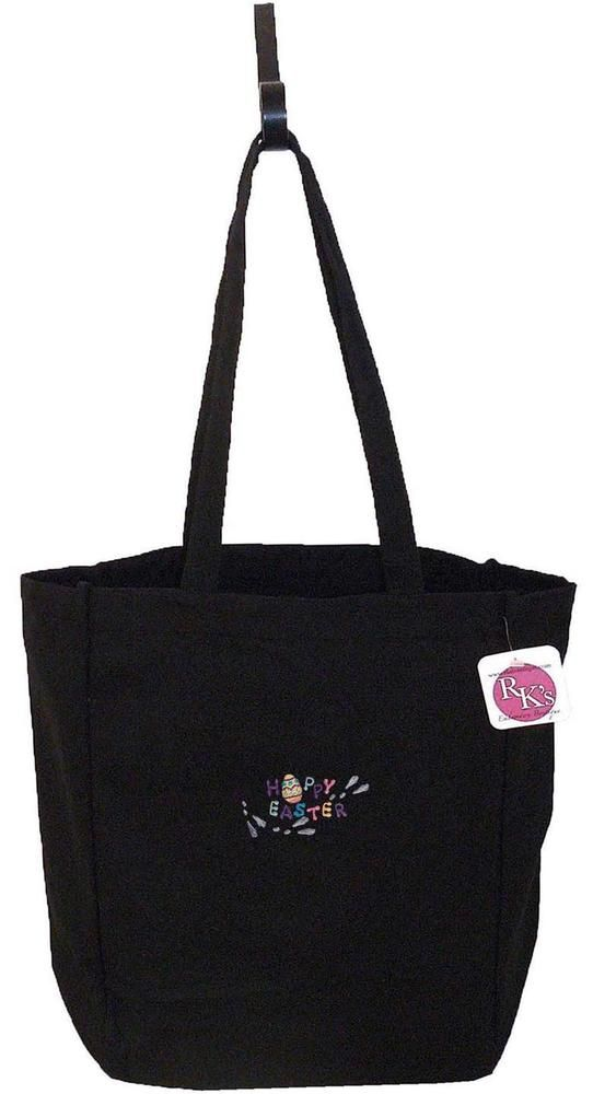Hoppy Easter Funny Bunny Rabbit Monogram Bag Black Cotton Canvas Holiday Tote #PortAuthority #TotesShoppers